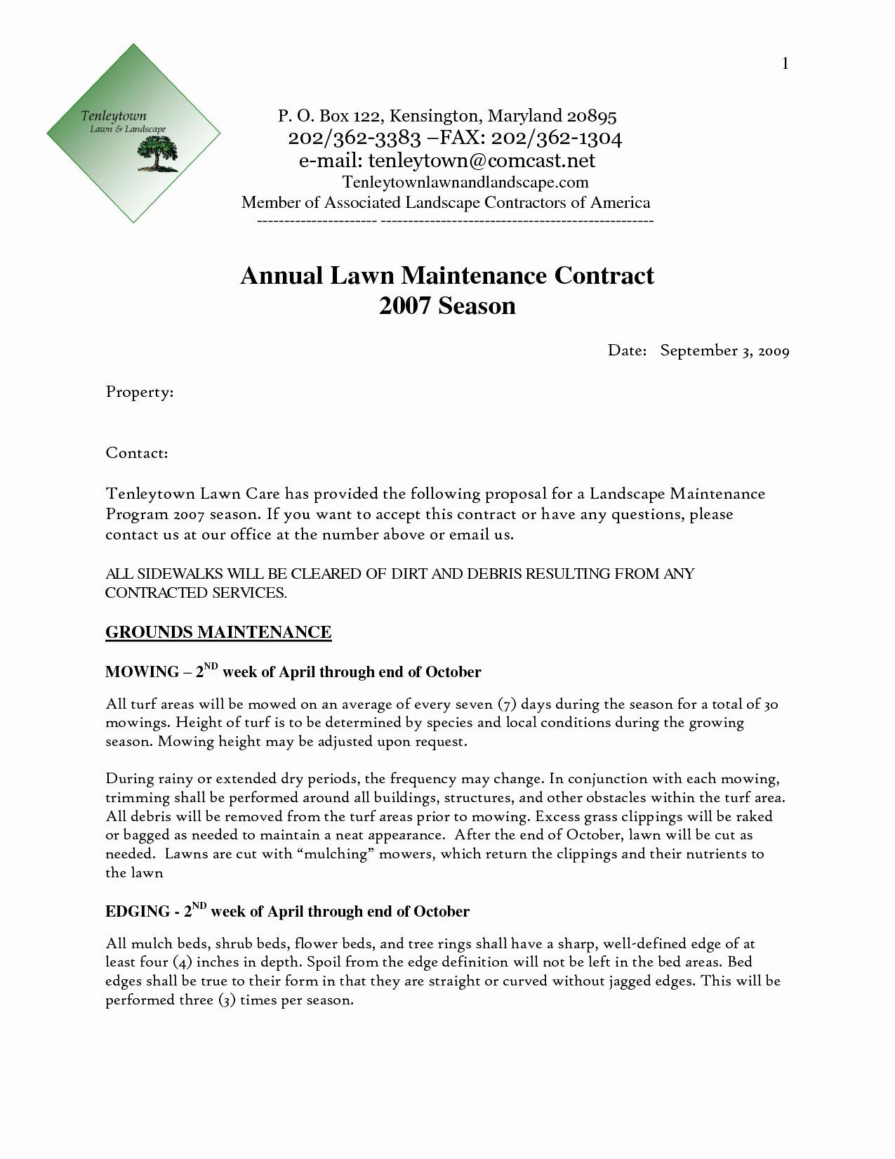 Free Bid Proposal Template New Landscaping Bid Templates Proposal Templates Landscape Maintenance Contract Template