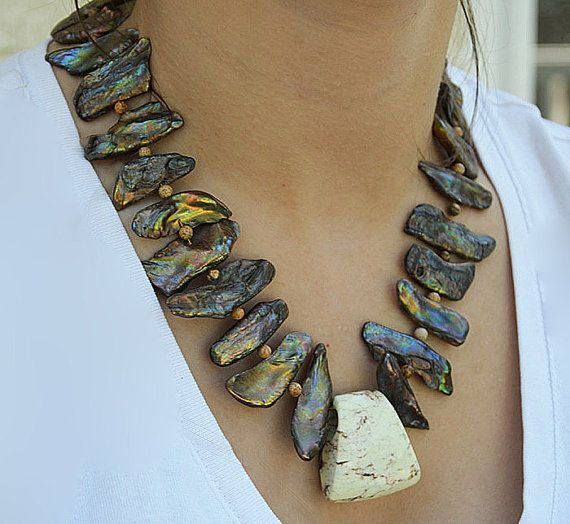 Bronze Stick Pearl Necklace Chunky Brown Cream Stone