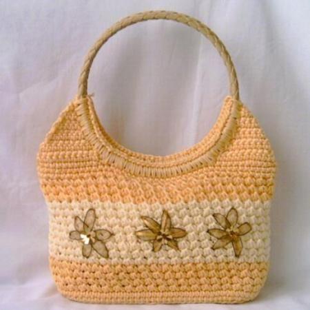 Bolso tejido a crochet bolso tejido con flores hilo - Bolso ganchillo paso a paso ...