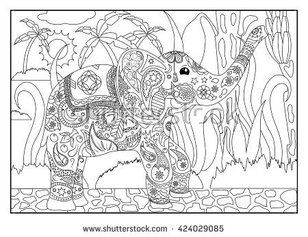 Coloring page Elephant with bananas, adult coloring page elephant ...