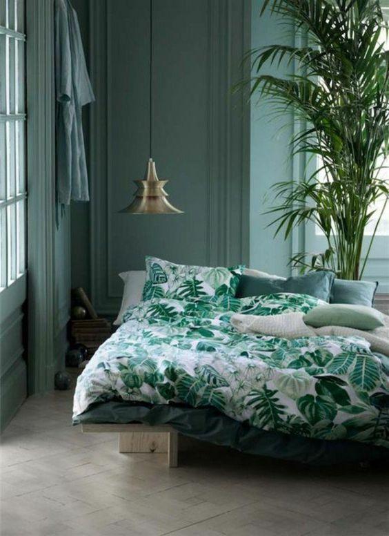Du vert dans la chambre cocon de décoration le blog