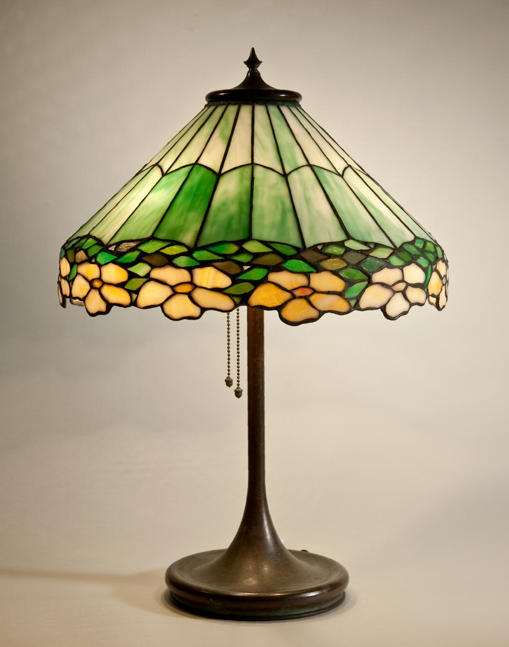 Portable Lamp C 1903 17 Leaded Gl Metal Unique Art
