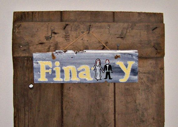 Wedding Barn Wood Sign Hand Painted 'FINALLY' by JunkWorxxEtc,