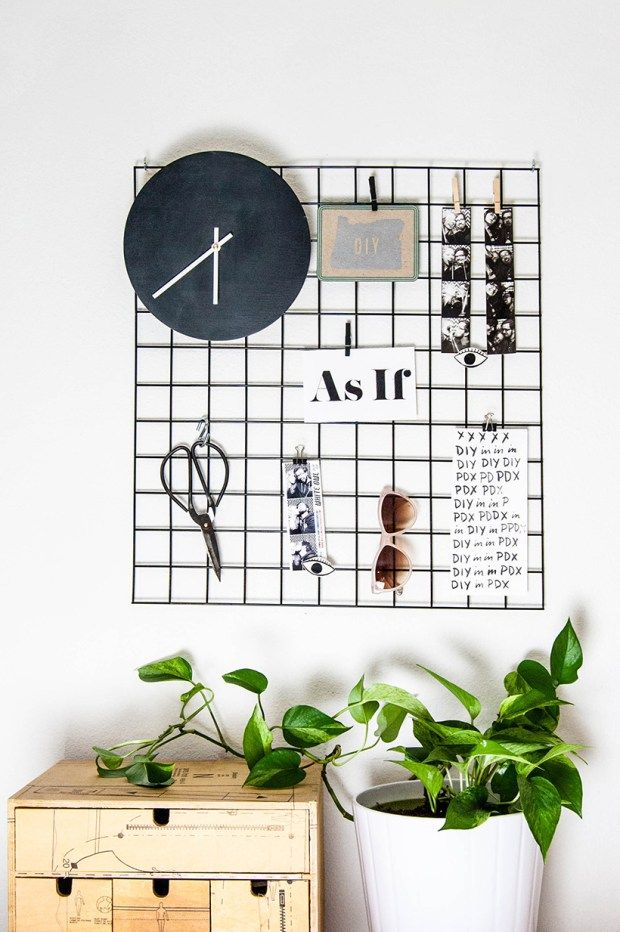 Diy Metal Wall Grid Diy Office Decor Diy Room Decor Room Diy