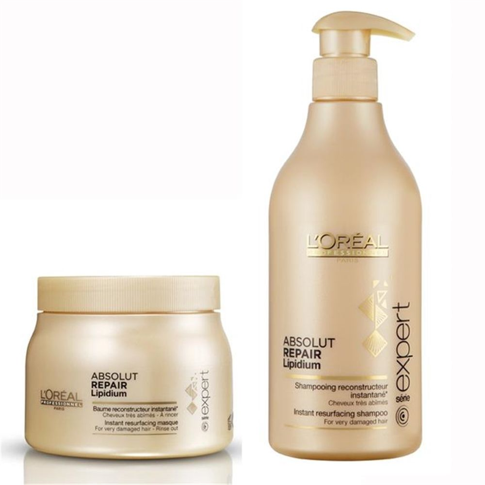 Loreal Professional Absolut Repair Lipidium Shampoo and Masque Pack 2 x  500ml b1d1a75255