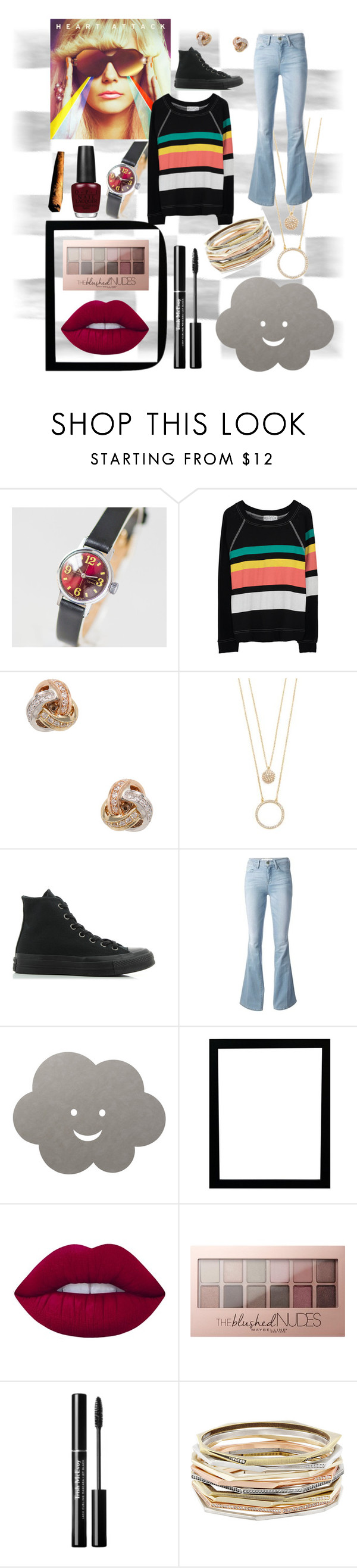 """""""Untitled #219"""" by brib978 ❤ liked on Polyvore featuring Wildfox, Nephora, Kate Spade, Converse, Frame, LIND DNA, Lime Crime, Maybelline, Kendra Scott and OPI"""