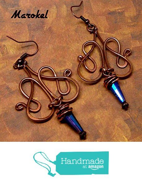 Cobalt Cone Copper Earrings Wire Wrapped Oxidized Wire curved Abstract from Marokel Industrial Designs http://www.amazon.com/dp/B01BW3UIY6/ref=hnd_sw_r_pi_dp_b5pXwb15Y4YFZ #handmadeatamazon