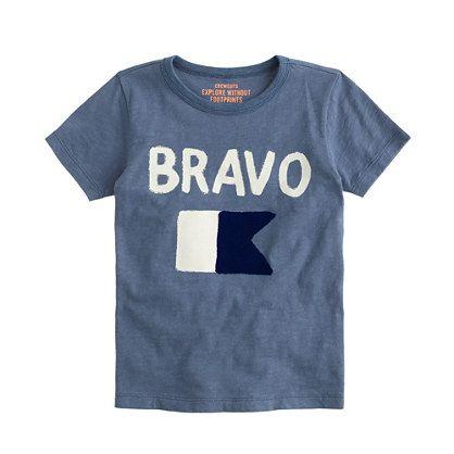Originally used by the Royal Navy, the Bravo maritime flag