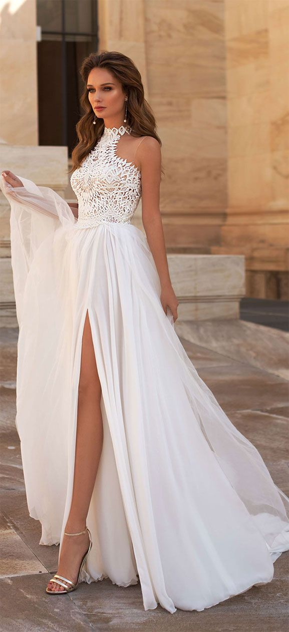 Halter Neck Lace A Line Wedding Dress Wedding Gown Weddingdress