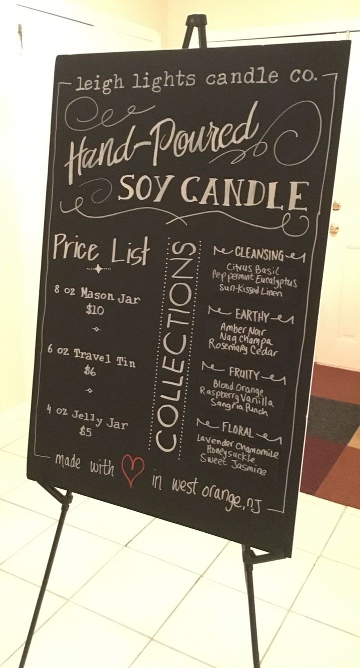Craft show candle booth foam board chalkboard signage