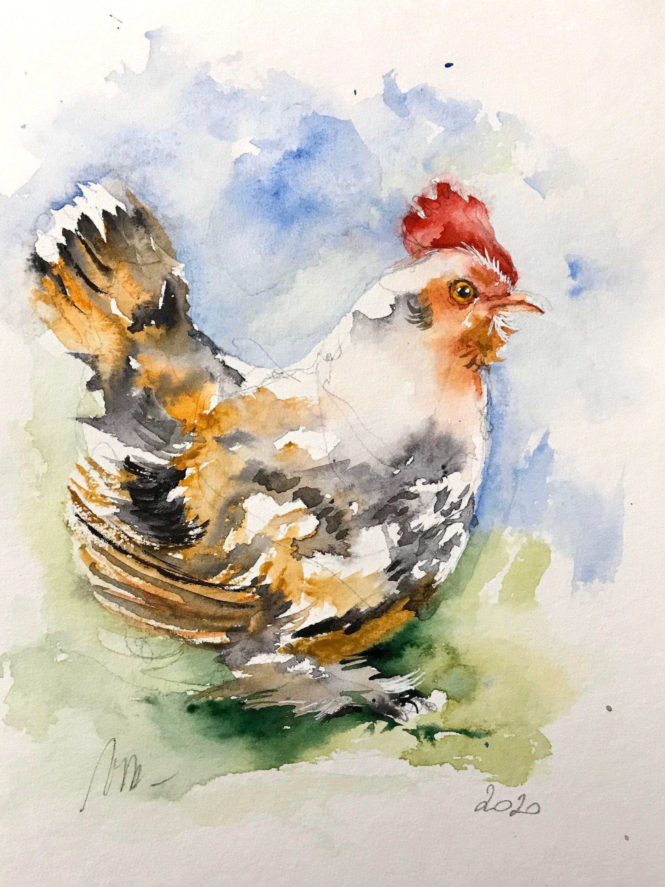 Aquarelle Peinture Originale Petite Poule Oiseau Ferme Basse