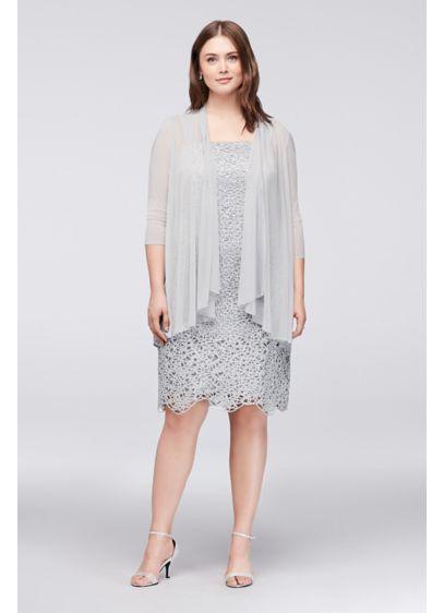 Petite Plus Size Metallic Lace Dress With Jacket 9655WP Wedding - Plus Size Jacket Dress For Wedding