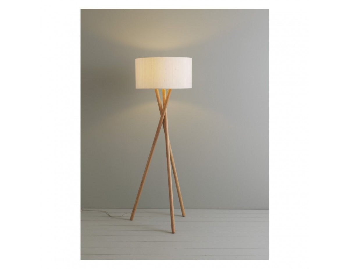 Lansbury Wooden Floor Lamp With White Silk Shade In 2020 Wooden Floor Lamps Wooden Tripod Floor Lamp Floor Lamp