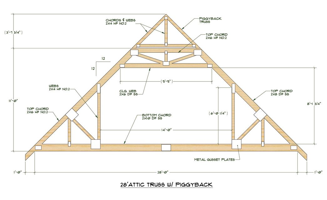 Click Here for PDF File of Truss Design 28u0027 standard attic truss 12/12 pitch  sc 1 st  Pinterest & Click Here for PDF File of Truss Design 28u0027 standard attic truss 12 ...