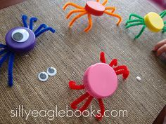 Bottle cap spiders...i made these several years ago with 2 liter bottle caps. I…