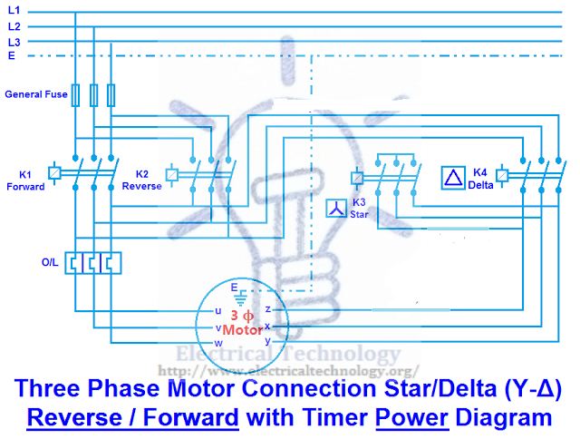 Three Phase Motor Connection Star Delta Y D Reverse Forward With Timer Power Control Diagram Electrical Circuit Diagram Circuit Diagram Diagram