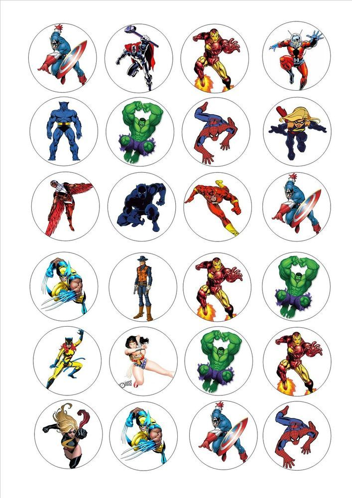 24 icing cake toppers decorations avengers marvel super for Decoration chambre super heros