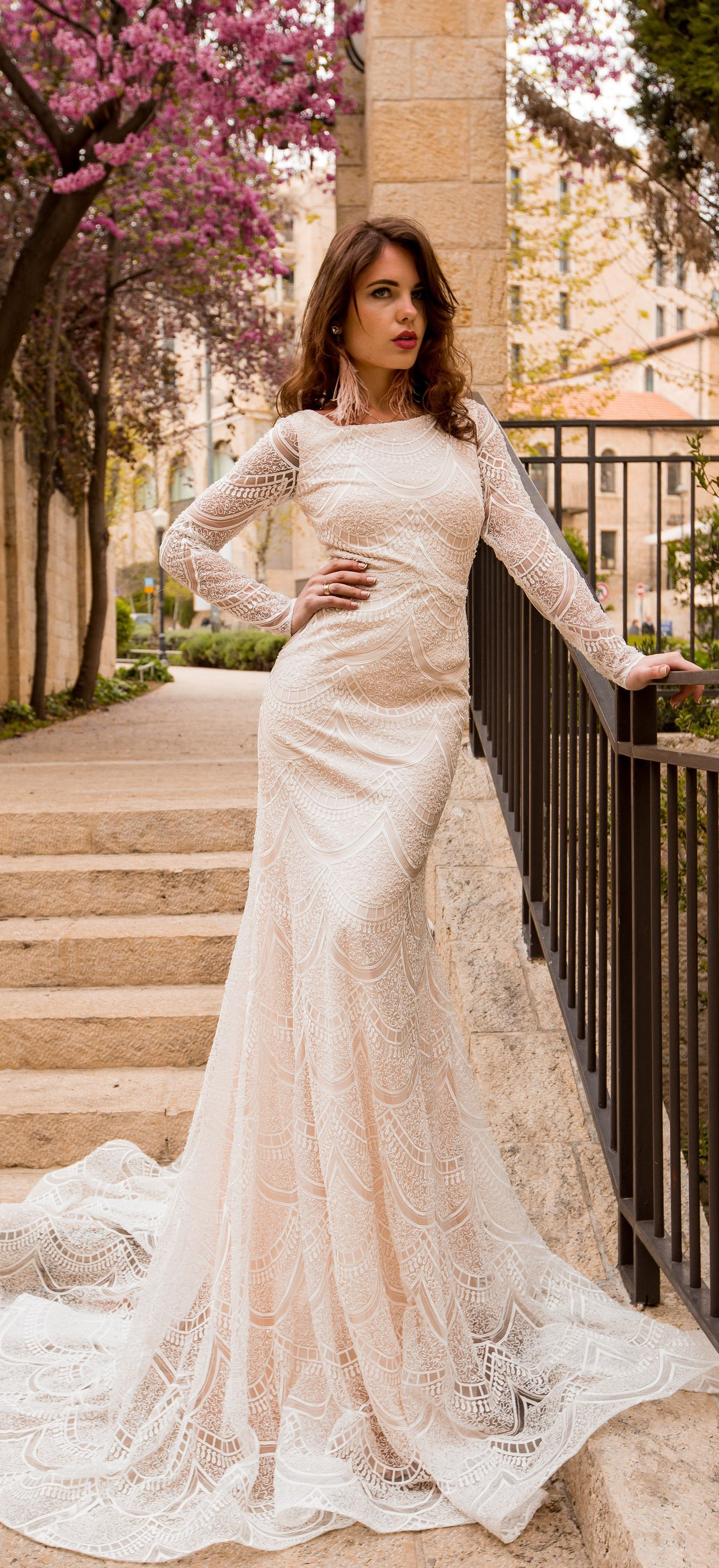 Lace v neck maxi dress april 2019 Mermaid Lace wedding dress with long sleeves  New Collection