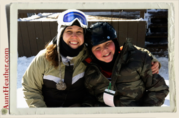 Me & Kyle snowboarding… our 1st run of the season 7 Springs 1/5/13 #AuntHeather