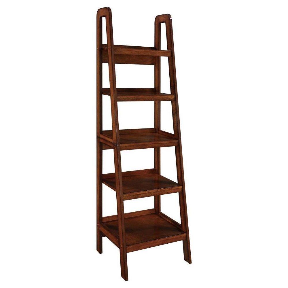 Platform shelf ladder bookcase mahogany ameriwood home brown