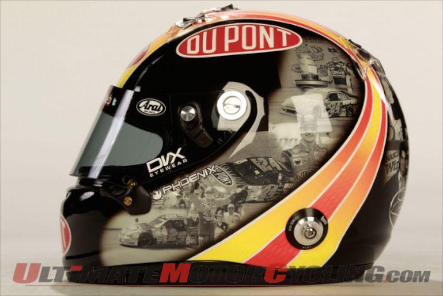Arai Sweeps The Podium In Nascar Ultimate Motorcycling Magazine Nascar Helmet Racing Helmets Nascar