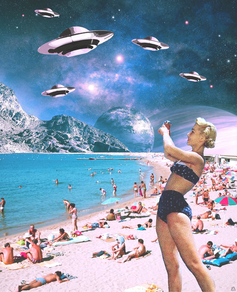 Vacation Invasion - Collage Art Print - Multiple Sizes