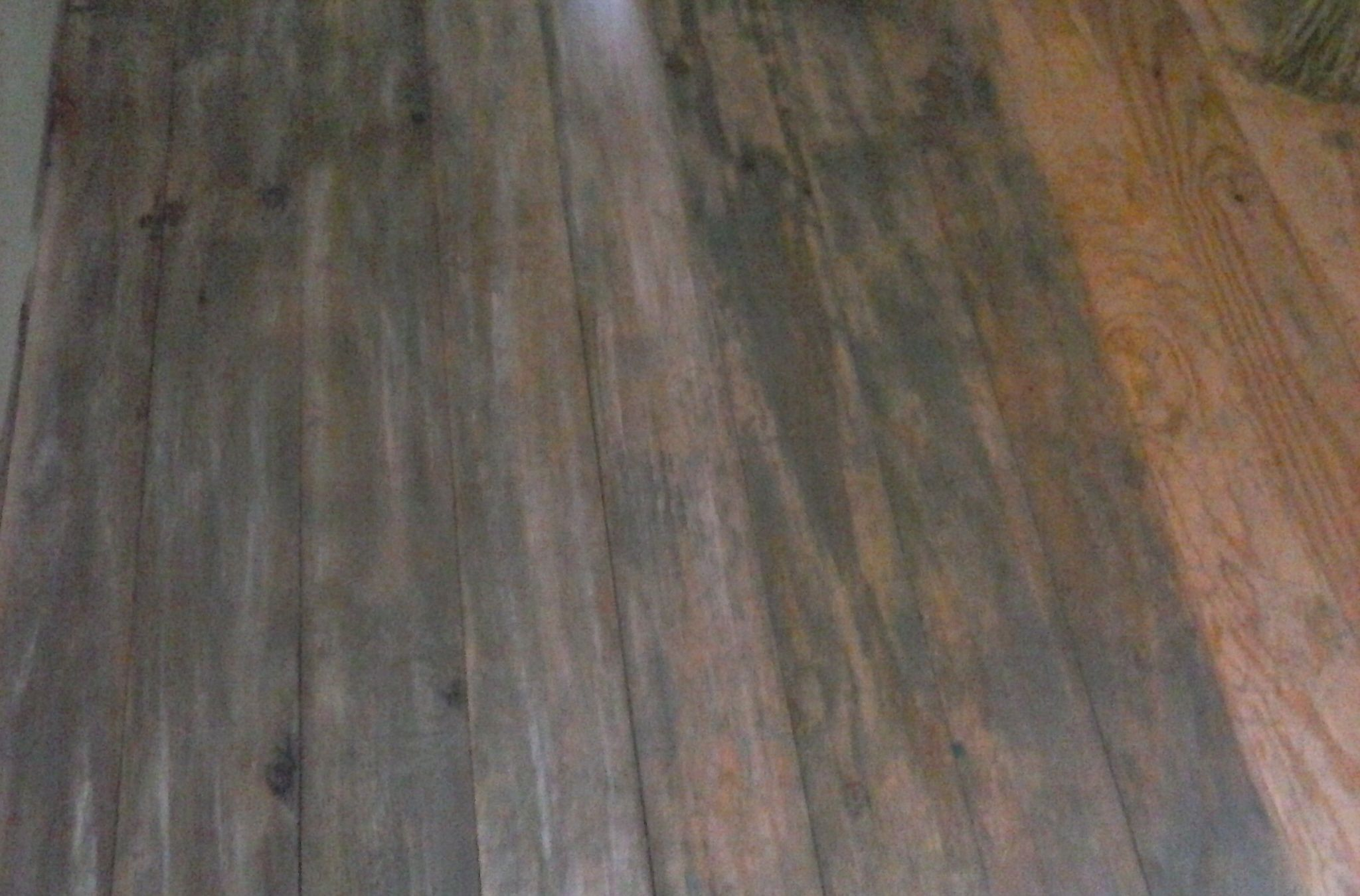 DIY Driftwood Stained Six Inch Plywood Plank Floor