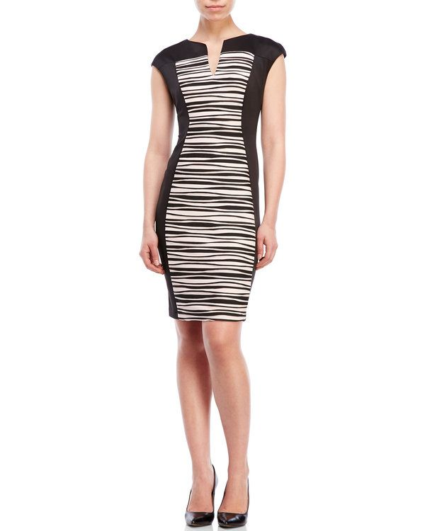 Connected Apparel - Color Block Rippled Sheath Dress - Century 21