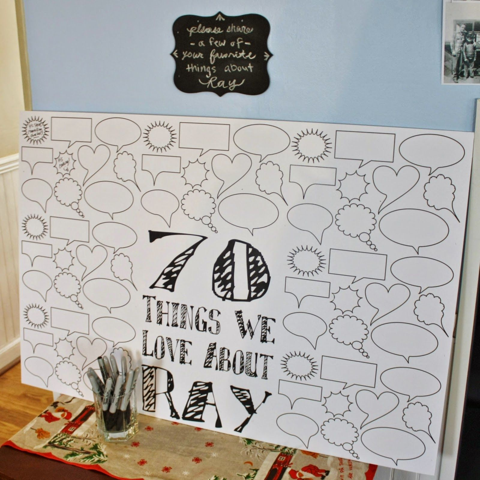 70 Things We Love About Ray Party Decoration And Interactive Guest Activity From Dads Milestone 70th Birthday Decor Black White Gray Chevron