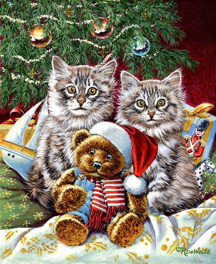 новогодняя открытка с котами емкий слоган, будет