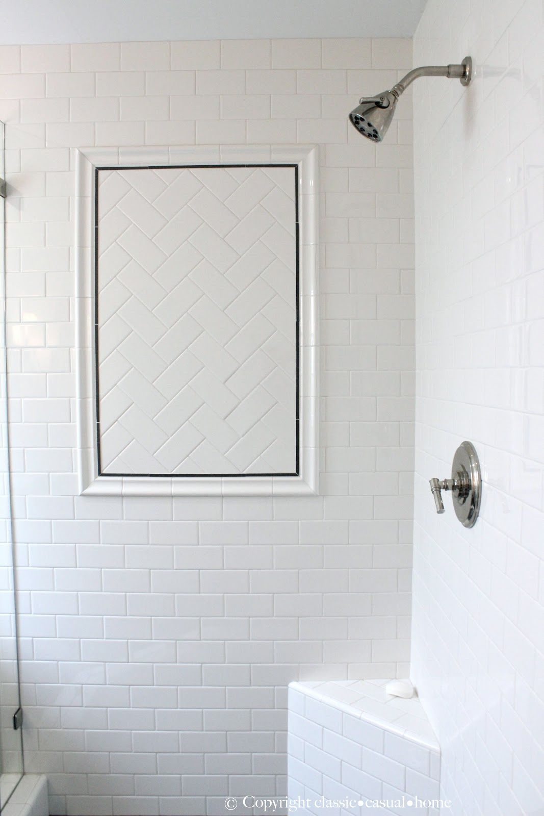 Herringbone Tile Inlay Subway Tile Showers Subway Tile