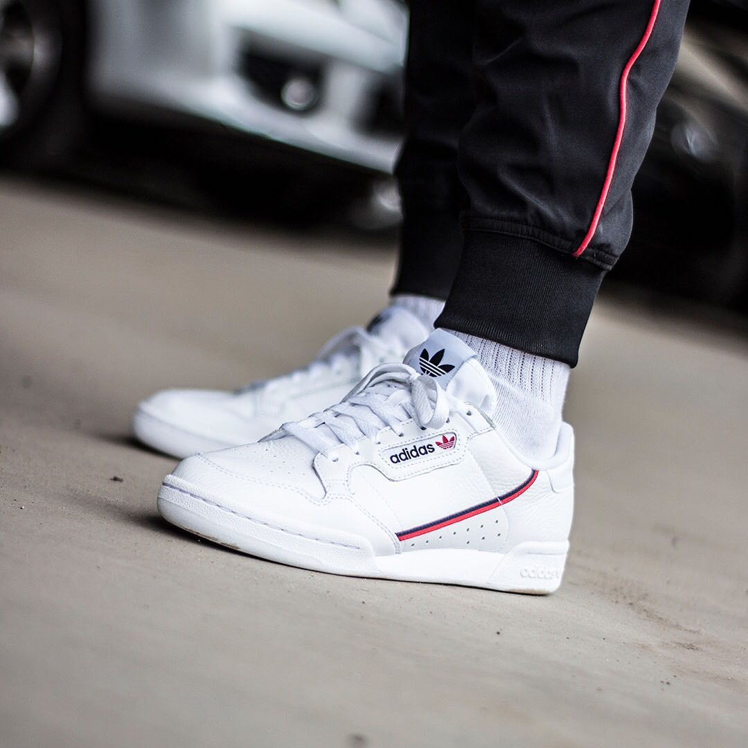 Insidesneakers Adidas Continental 80 White Scarlet B41674 Adidas Outfit Men Adidas White Sneakers Sneakers