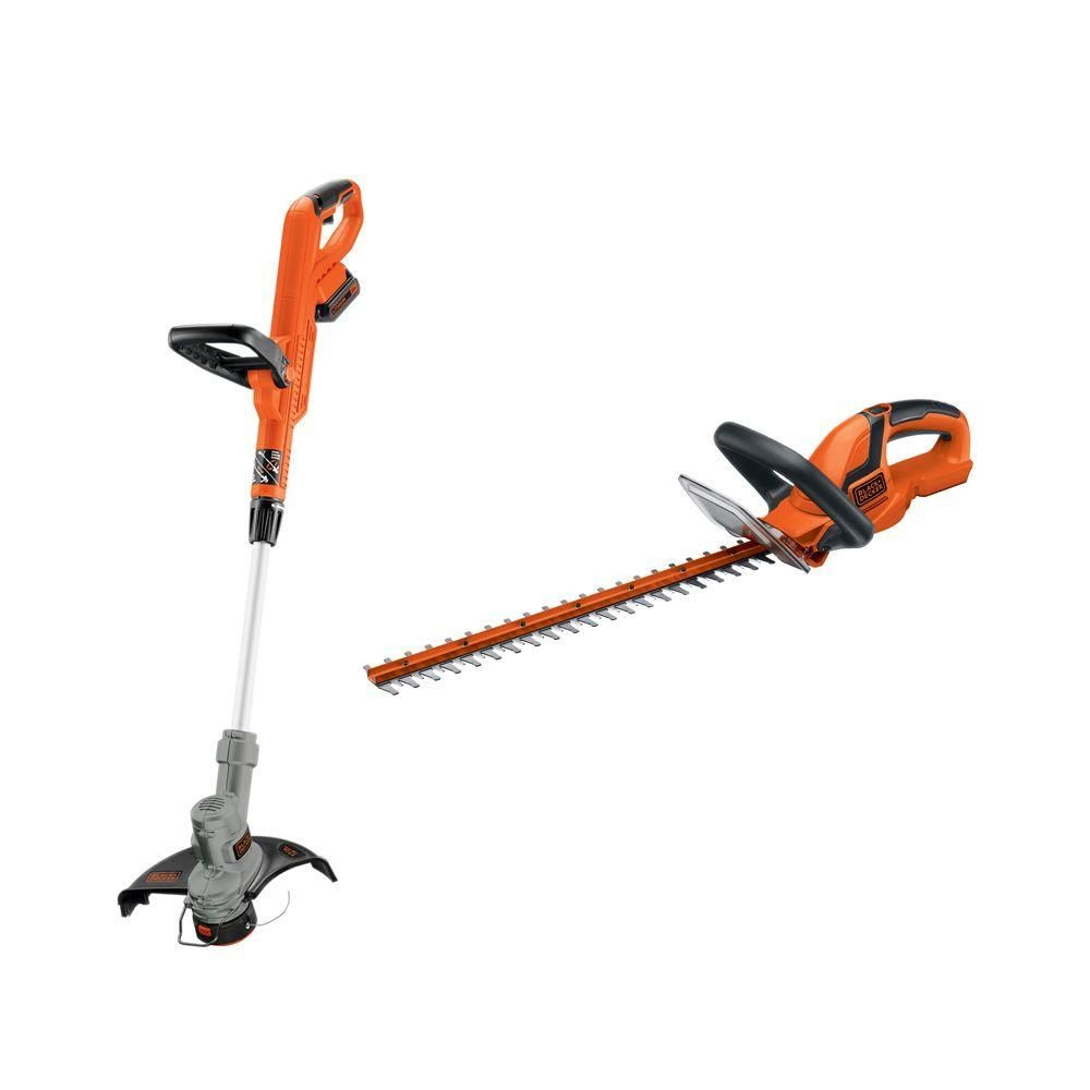 Black Decker 20 Volt Max Lithium Ion Cordless String And Hedge Trimmer Combo Kit 2 Tool With 2 0ah Battery And Charger Incl Combo Kit Trimmers Hedge Trimmers
