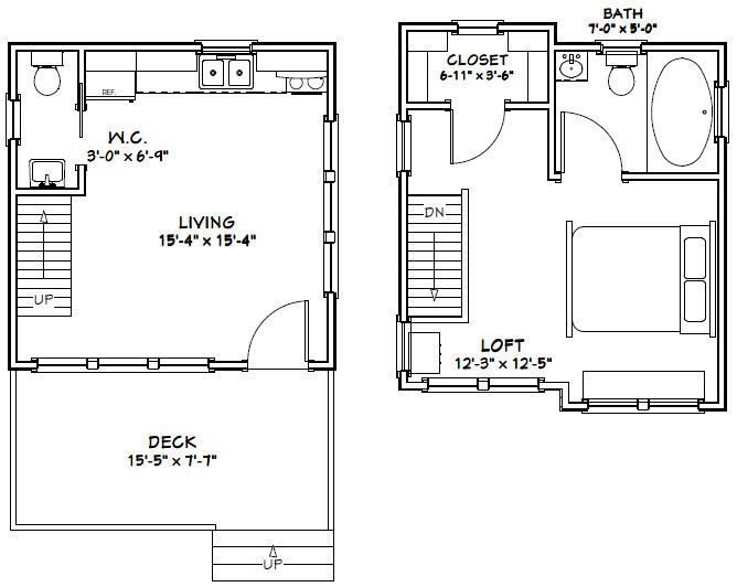 16x16 Cabin 16x16 House 16x16h7 523 Sq Ft Excellent Floor Plans Floor Plans House Plans Cabin Plans