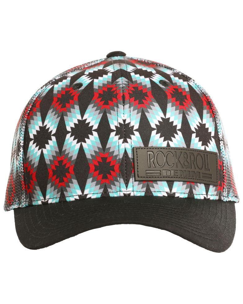 3e34953ebc6d4 Rock   Roll Cowboy Men s All Allover Aztec Geometric Mesh Cap in ...
