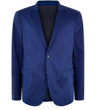 This Blue Sateen Blazer adds flair to black skinny jeans and white t-shirt.