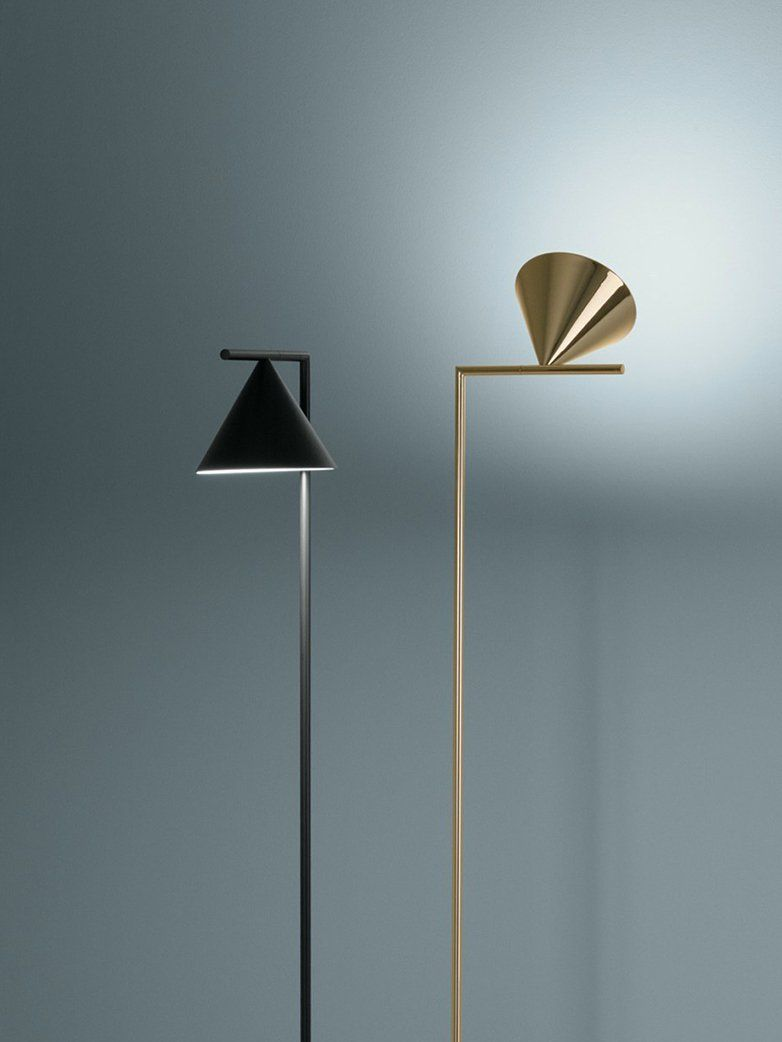 Floor Lamp That Is Providing Adjustable Direct Light Painted Steel Or Brushed Brass Stem And Metal Spinning Cone White Carrara Or Lamp Floor Lamp Flos Light
