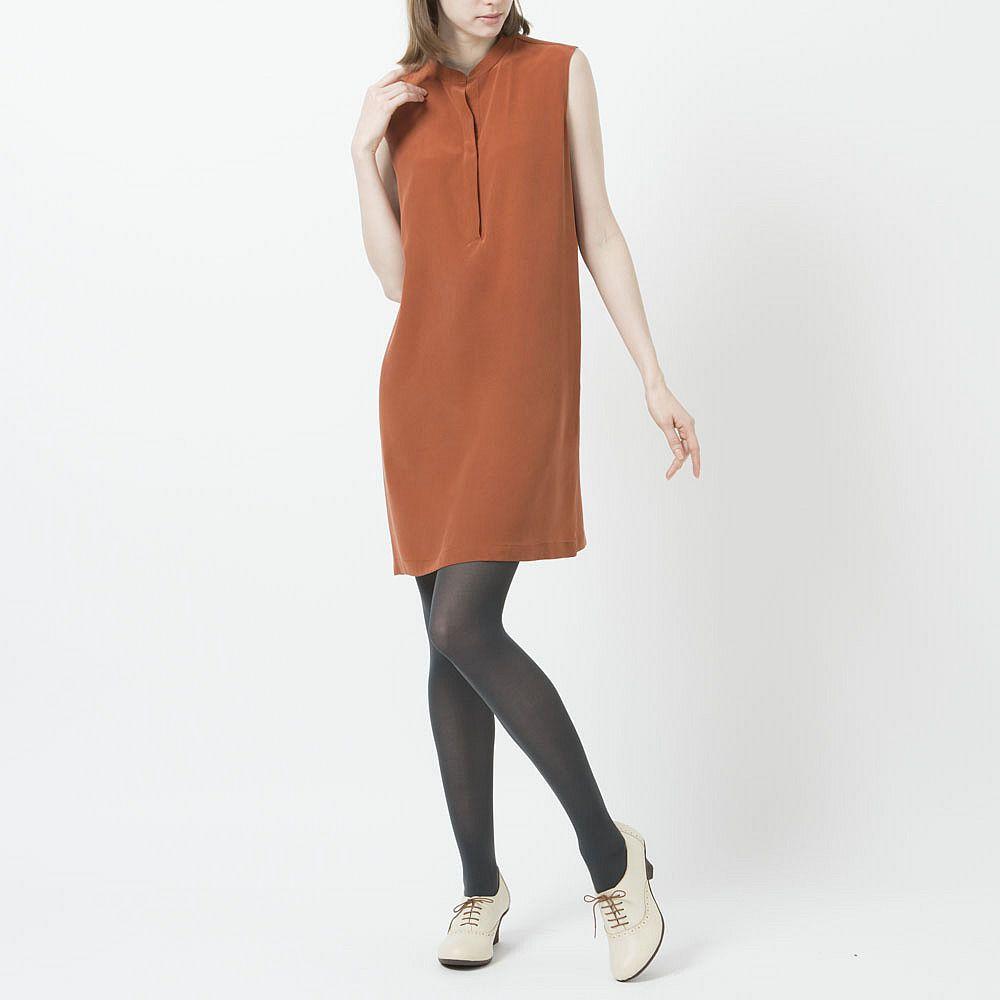 Dark orange silk sleeveless dress great for layering for fall