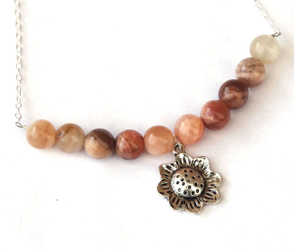 shop semi necklaces stone precious livemaster buy s online of made jasper silver ural handmade necklace sunstone item sun stones beads
