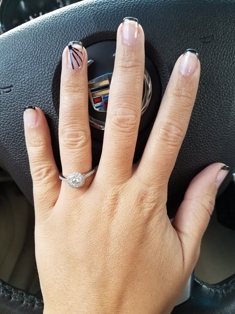 Black French manicure with nail tape accent nail | nails | Pinterest ...