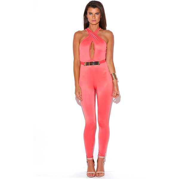 Coral bejeweled wrap front cut out back bodycon fitted clubbing... ($10) ❤ liked on Polyvore featuring jumpsuits, white bodycon jumpsuit, summer jumpsuits, cut out jumpsuit, sexy white jumpsuit and bodycon jumpsuit