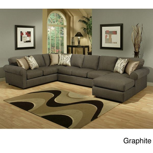 Furniture of America Keaton Chenille Sectional Sofa ($2,085) ❤ liked on Polyvore featuring home, furniture, sofas, brown, chenille furniture, furniture of america, brown sectional, left arm chaise and brown sofa