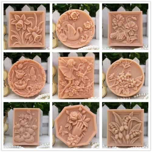 Details about Silicone Soap Mold Craft Bird Flower Soap