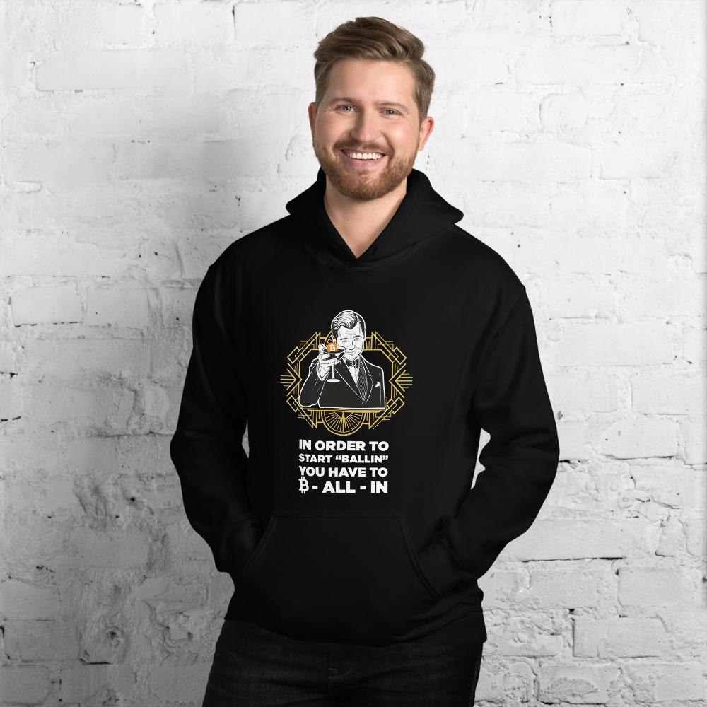 Are you Ballin'? Bitcoin Hoodie For Men (Dark) - Black / XL