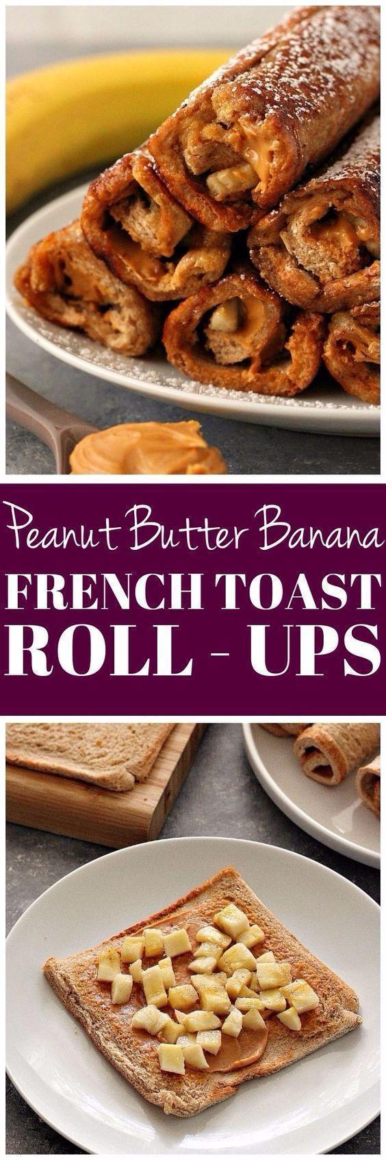 Peanut Butter Banana French Toast Roll Ups Recipe #frenchtoastrollups
