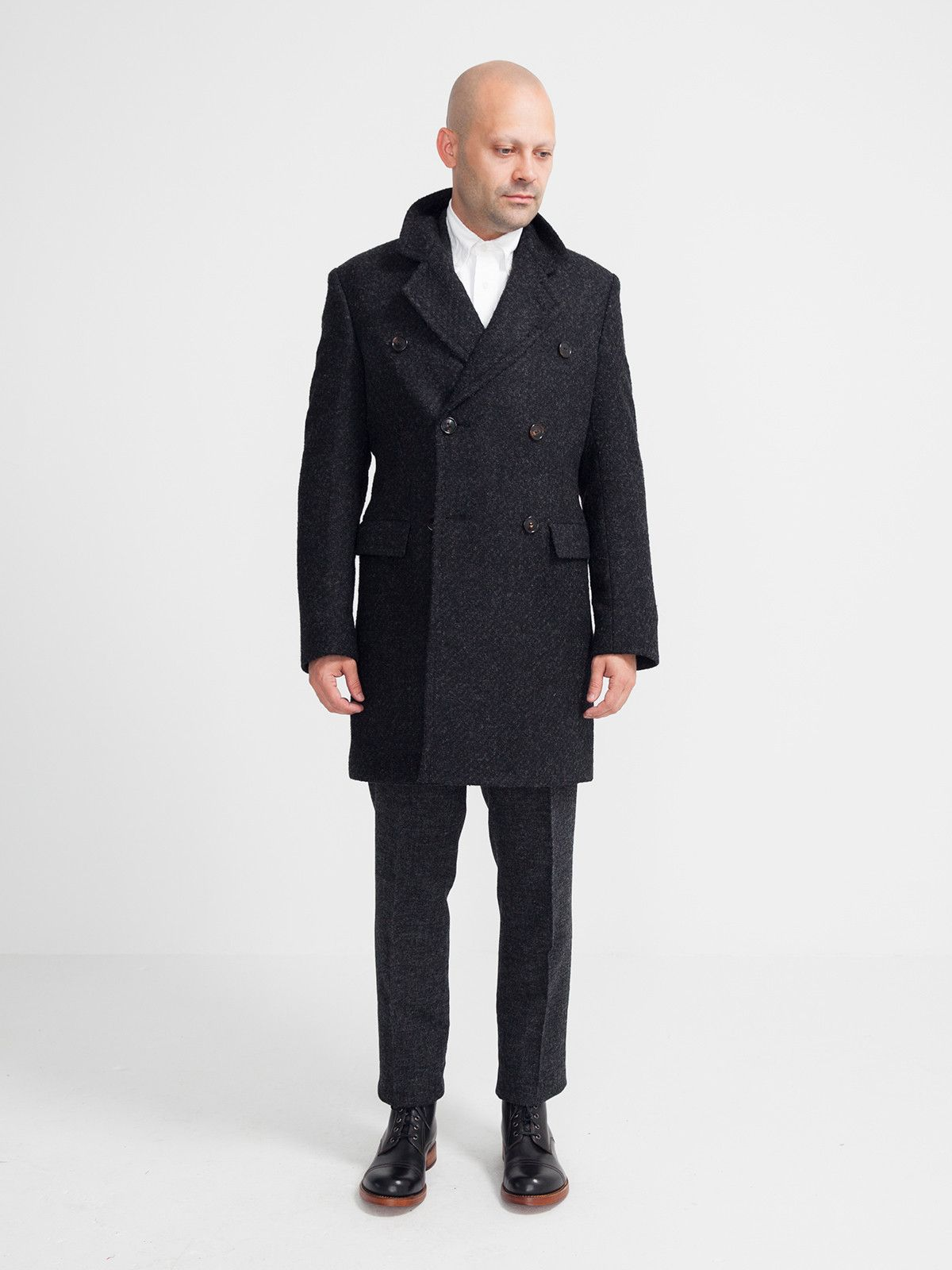 DOUBLE BREASTED COAT DARK GREY | GENTRY NYC