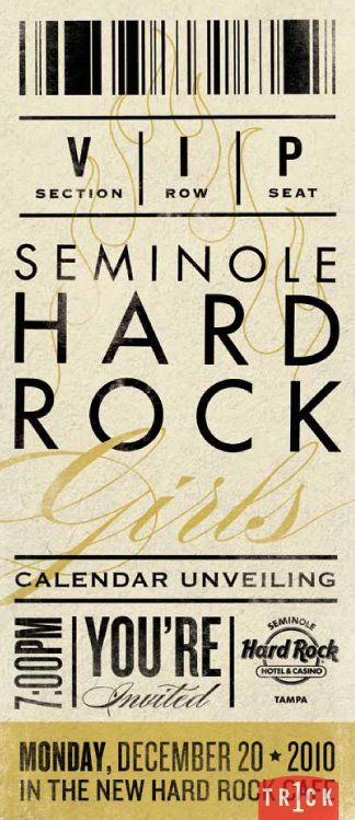 Seminole Hard Rock Hotel \ Casino Tampa 2010 Hard Rock Girls - invitation unveiling