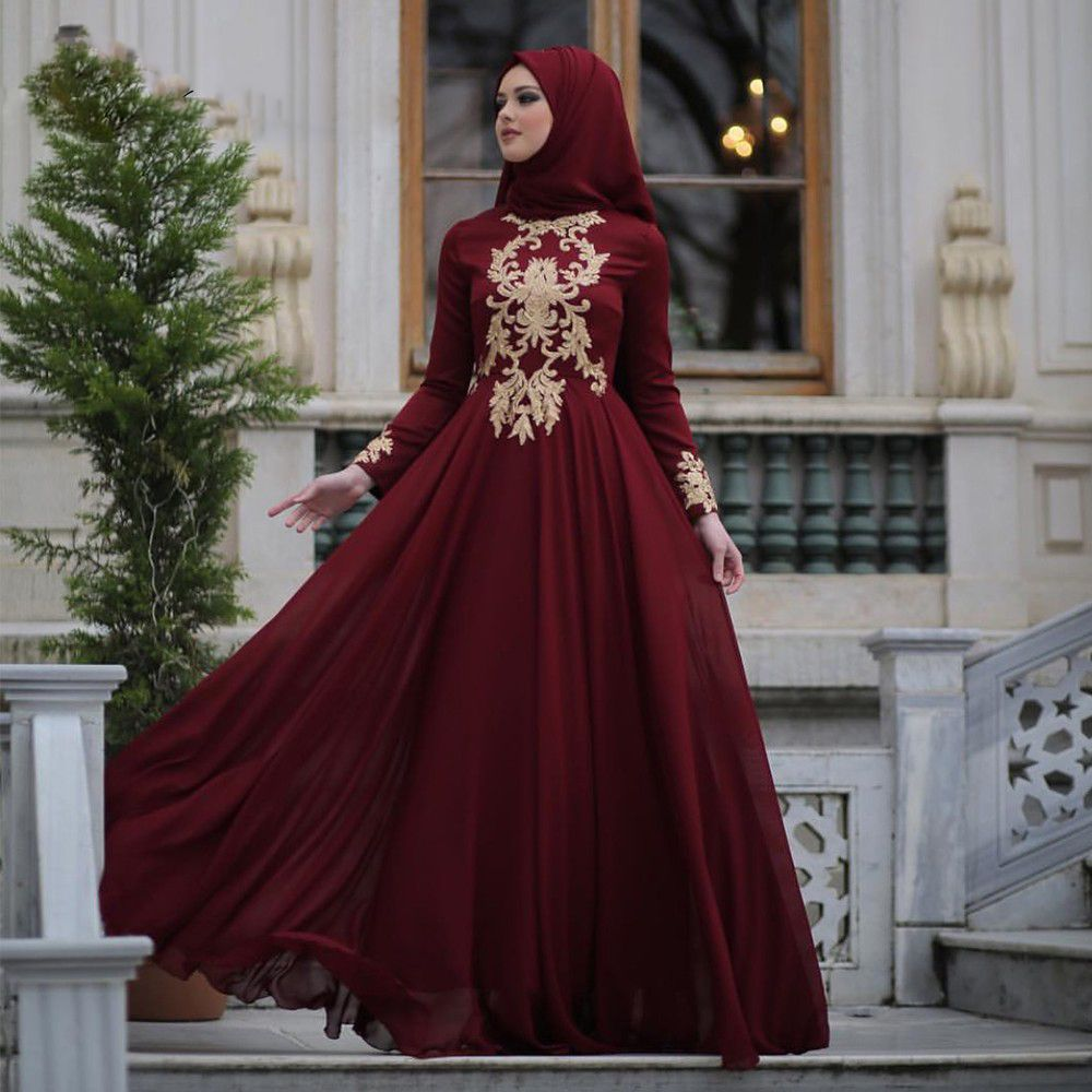 e7a80e1306ac5 Modest Arabic Muslim Evening Dresses Burgundy A-line Chiffon Gold ...