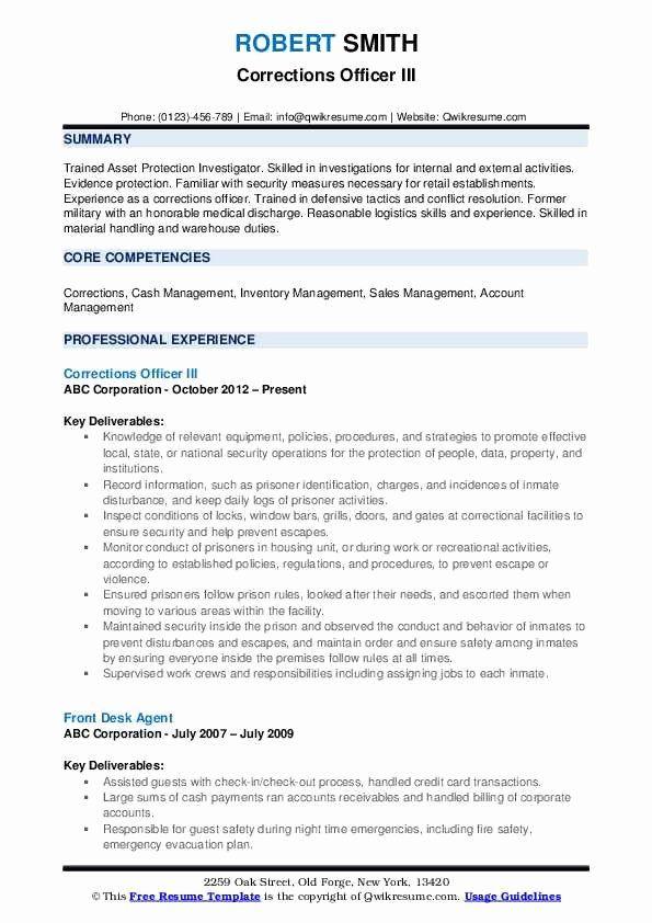 correctional officer job description resume unique