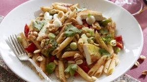 Dejligt hverdagsret med pasta, kylling, skalotteløg og peanuts